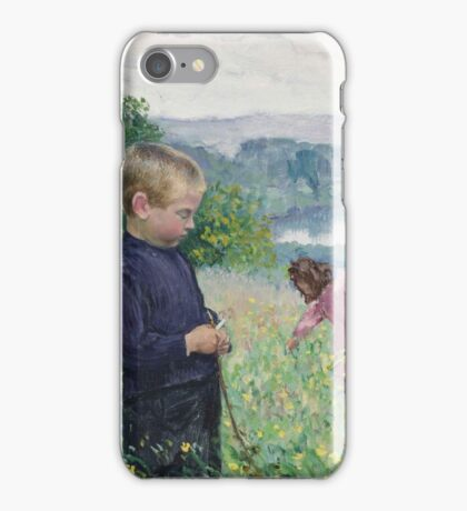 Leon Giran-Max,  Children picking flowers by the river iPhone Case/Skin