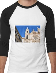 Architectural detail of the cathedral from Malaga, Spain. Men's Baseball ¾ T-Shirt