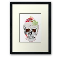 Skull with dessert and ice cream. Sweet death. Framed Print