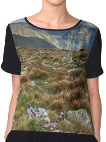 Alpine landscape in a cloudy day Chiffon Top