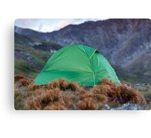 Tent on the mountain summit Canvas Print