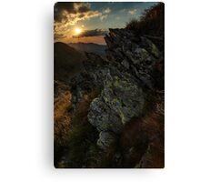 Mountain range at sunset Canvas Print