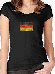 Vintage Aged and Scratched German Flag Women's Fitted Scoop T-Shirt