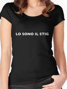 I AM THE STIG - Italian White Writing Women's Fitted Scoop T-Shirt