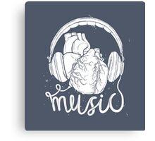 Music lover heart headphones Canvas Print