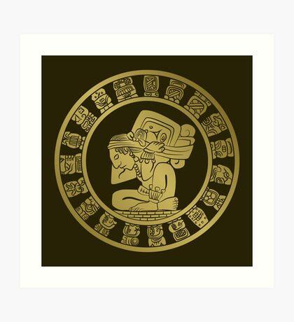 Mayan calendar in the style of boho Art Print