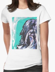 Tibetan Terrier Bright colorful pop dog art Womens Fitted T-Shirt