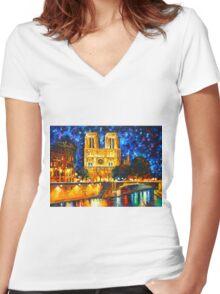 NOTRE DAME DE PARIS - Leonid Afremov Women's Fitted V-Neck T-Shirt