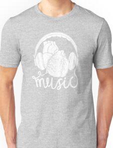 Music lover heart headphones Unisex T-Shirt