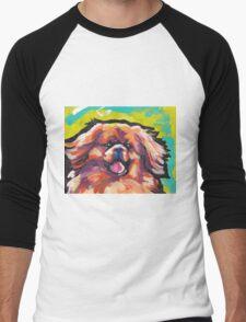 Tibetan Spaniel Bright colorful pop dog art Men's Baseball ¾ T-Shirt