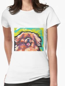 Tibetan Spaniel Bright colorful pop dog art Womens Fitted T-Shirt