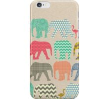 linen baby elephants and flamingos iPhone Case/Skin
