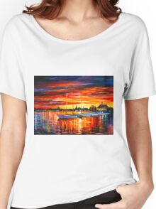 HELSINKI - SAILBOATS AT YACHT CLUB - Leonid Afremov Women's Relaxed Fit T-Shirt