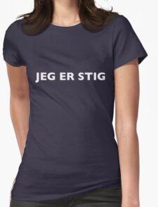 I AM THE STIG - Norwegian White Writing Womens Fitted T-Shirt