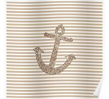Gold Stripes Nautical Anchor Poster