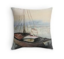 boat water color painting Throw Pillow