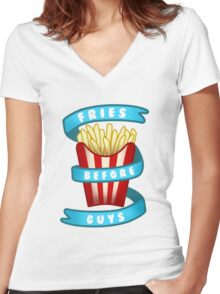 Fries Before Guys Women's Fitted V-Neck T-Shirt