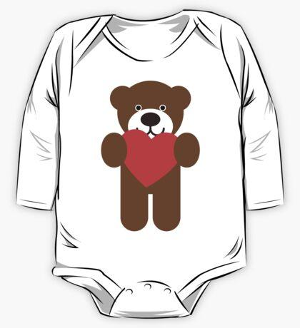 Teddy Bear Heart One Piece - Long Sleeve