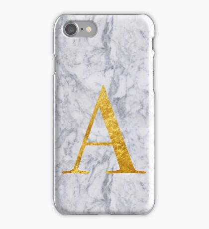 Letter A in Gold on Marble iPhone Case/Skin
