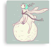 Winter rabbit and snowball Canvas Print