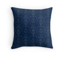 Navy Blue Anchors Throw Pillow