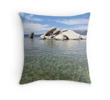 Clear Waters of Sand Harbor Throw Pillow