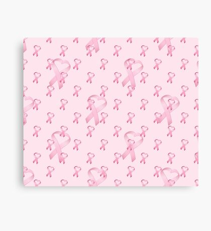 Pink Heart Ribbon Breast Cancer Canvas Print
