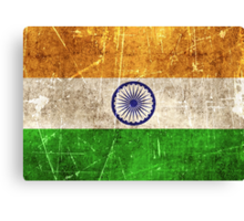 Vintage Aged and Scratched Indian Flag Canvas Print