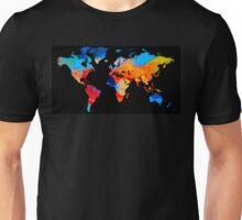 World Map 18 Black Background Unisex T-Shirt