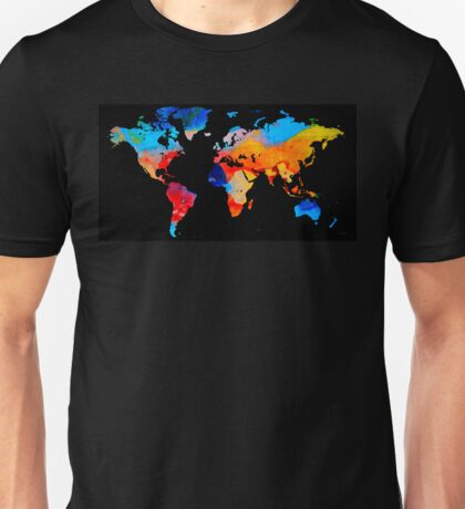 World Map 18 Black Background Unisex T-Shirt