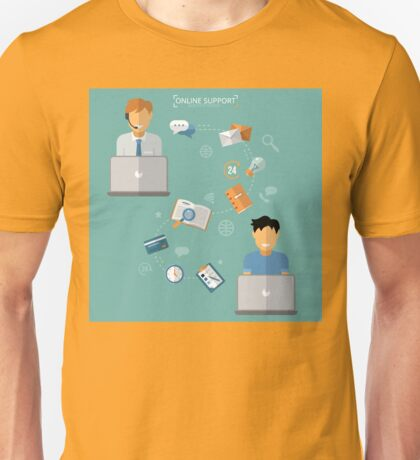 Concept of Technical Online Support. Computer Remote Nonstop Support Service Unisex T-Shirt