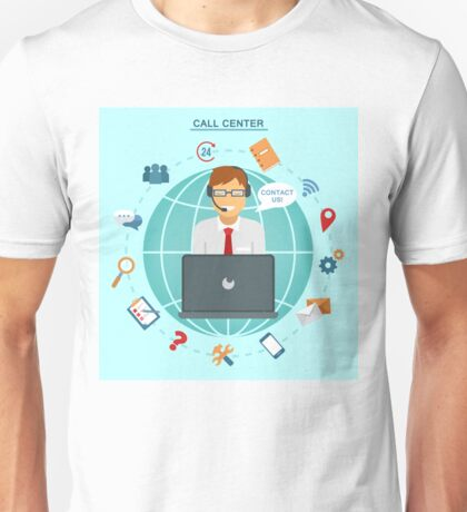 Concept of Technical Online Support Call Center. Computer Remote Nonstop Support Service Unisex T-Shirt