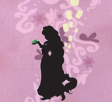 Rapunzel and Pascal Silhouette by joshda88