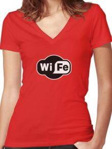 Wife ...a Wi-Fi parody Women's Fitted V-Neck T-Shirt