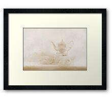 Cream Tea Pot And Ruffled Tablecloth - Still Life  Framed Print