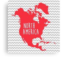 North America Chevron Continent Series Canvas Print