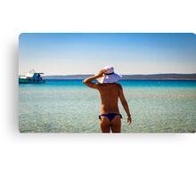 Girl at the sea in Croatia Canvas Print