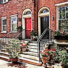 Philadelphia PA - Townhouse With Red Geraniums by Susan Savad