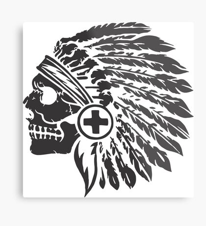 Native Headdress and skull Metal Print