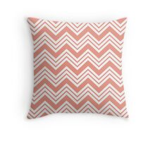 Coral Peach Chevron Stripes Throw Pillow