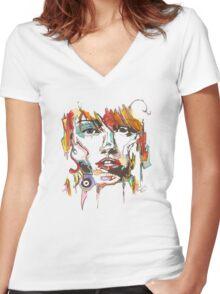 Creative Female Portrait Women's Fitted V-Neck T-Shirt