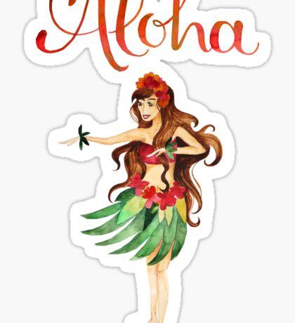 Aloha Hawaiian Hula Girl Sticker