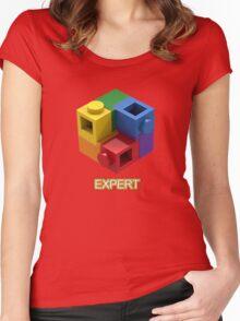 'Expert' Builder T-Shirt Featuring a Brick Built Rainbow Puzzle Women's Fitted Scoop T-Shirt