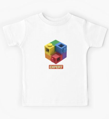 'Expert' Builder T-Shirt Featuring a Brick Built Rainbow Puzzle Kids Tee