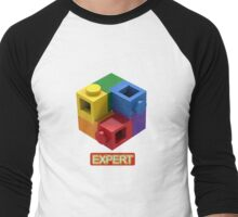 'Expert' Builder T-Shirt Featuring a Brick Built Rainbow Puzzle Men's Baseball ¾ T-Shirt