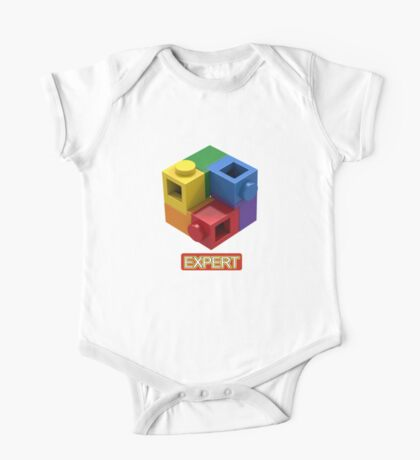 'Expert' Builder T-Shirt Featuring a Brick Built Rainbow Puzzle One Piece - Short Sleeve