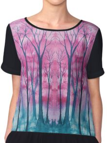 Abstract Forest Chiffon Top