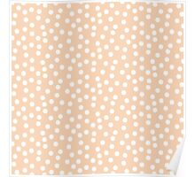 Peach White Dots Poster
