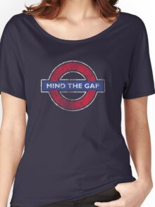 Mind The Gap British London Underground Distressed Women's Relaxed Fit T-Shirt