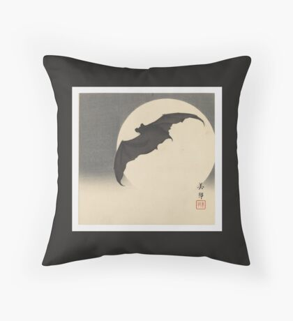 Bat before the Moon by Biho Takashi Throw Pillow
